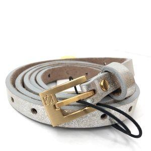 NEW ADA dotty silver skinny belt genuine leather